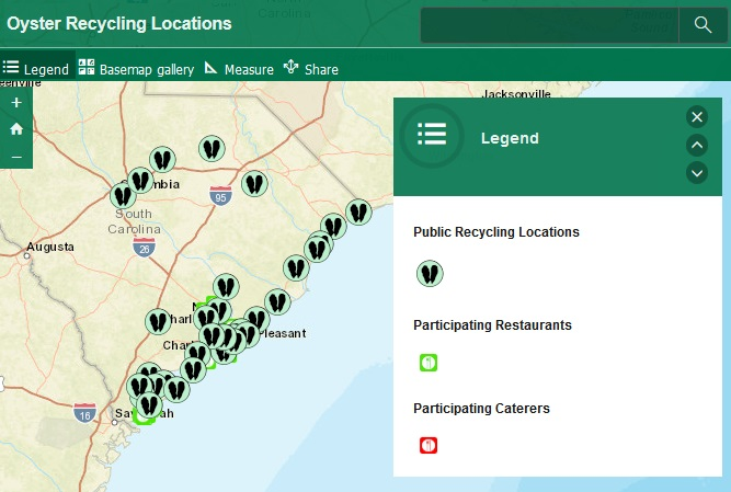Oyster Shell Drop-Off Locations Interactive map